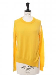 Pull en laine, soie et cachemire jaune doré col rond RRP 390€ Taille 36