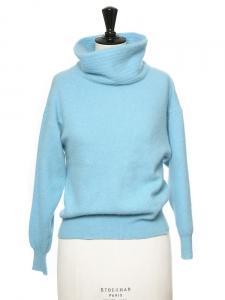 Pull col châle manches longues en laine et angora bleu azur taille 36