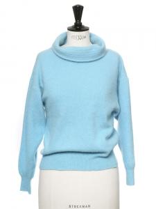 Azure blue wool and angora long sleeves shawl collar sweater Size 36
