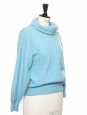 Azure blue wool and angora long sleeves shawl collar sweater Size 36