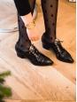 Paris-Dallas Bottines lacées en cuir verni noir et étoiles dorés Prix boutique 1500€ Taille 40,5