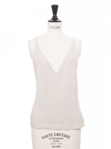 White cotton blend knitted tank top with V neckline and thin straps Size S