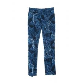 Pantalon slim fit taille haute en brocart bleu et noir Prix boutique $420 Taille 34