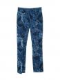 Pantalon slim fit taille haute en brocard bleu et noir Prix boutique $420 Taille 34