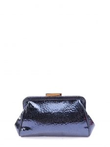 Metallic blue textured leather wallet clutch Retail price €400