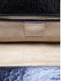 Metallic blue textured leather wallet clutch Retail price €400