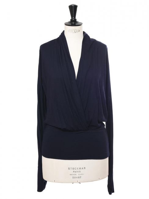 Navy blue jersey draped wrapped long sleeves top Retail price €250 Size 40