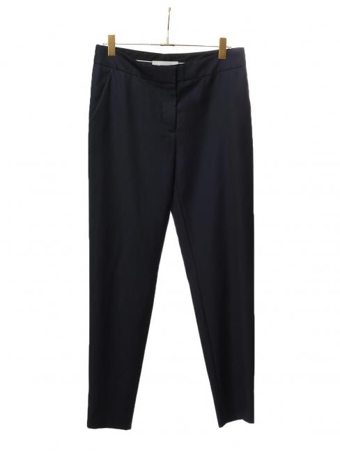 Pantalon tailleur slim fit à pli en crêpe de laine bleu nuit Px boutique $560 Taille 42