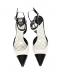 Black and ivory white two-tone leather slingback pumps Retail price €700 Size 36