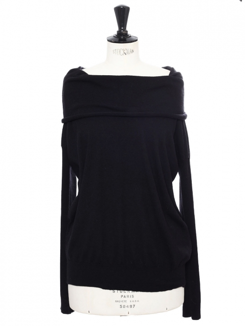 Off-the-shoulder or shawl neckline black wool sweater Retail price €650 Size 36