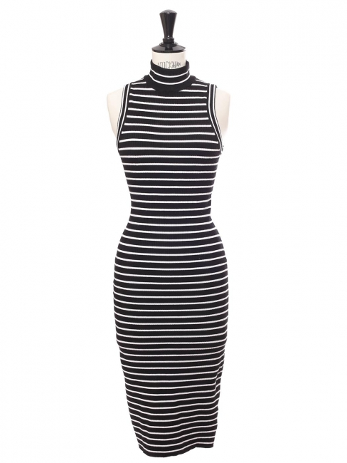 Black and white striped ribbed knit sleeveless body con dress