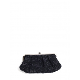 Midnight blue tweed and metallic silver evening clutch bag Retail price €600