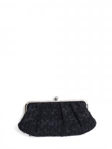 Sac pochette du soir en tweed bleu nuit métallisé argent Prix boutique 600€