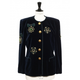 Midnight blue, green and gold velvet jacket embellished with gold buttons Retail price €1500 Size 40
