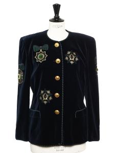 Veste en velours vert foncé brodée d'ornements et boutons dorés Taille 40
