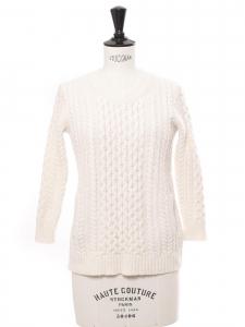 Pull manches 3/4 en laine torsadée blanc écru Taille XS