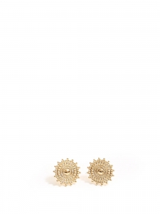 Gold sun round earrings for pierced ears
