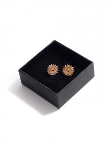 Gold sun round earrings for pierced ears