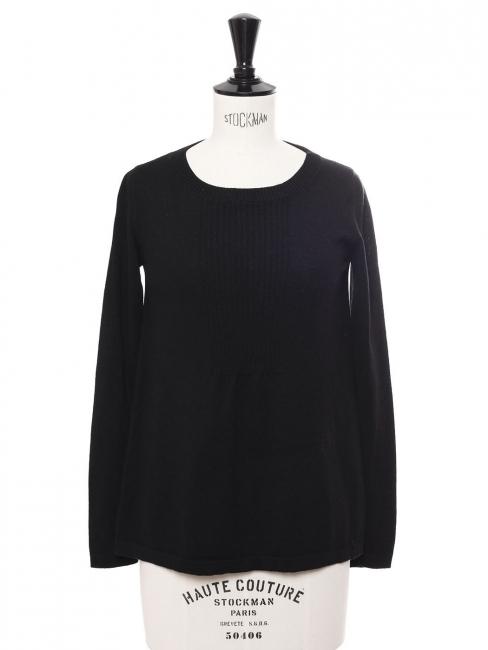 Fine black wool round neck sweater Size XS