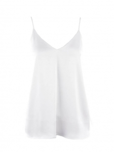 BETTINA white satin camisole top with strap and V neckline Retail price $265 Size S