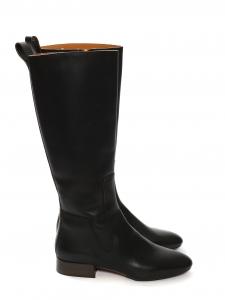 Bottes hauteur genoux plates en cuir noir Prix boutique 650€ Taille 38.5