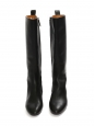 Black leather knee high flat boots Retail price €650 Size 38.5