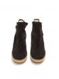 VIRGINIE Dark grey suede leather wedge boots with shearling Retail price €385 Size 39