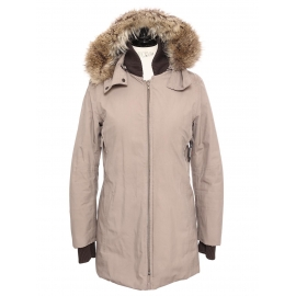 Beige gore tex parka jacket with brown fur hood Retail price €2100 Size XS