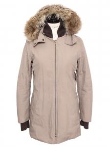 Manteau / veste parka beige à capuche fourrure marron Prix boutique 2100€ Taille 34