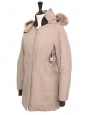 Beige parka long jacket with brown fur hood Retail price €2100 Size XS