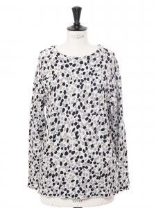 Pull col rond en coton blanc imprimé moucheté rose noir bleu Prix boutique 690€ Taille 36