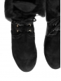 Black sheepskin suede leather and fur flat boots Retail price 500€ NEW Size 38.5