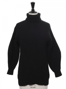 ISA turtleneck black ribbed wool sweater Retail price $450 Size XS