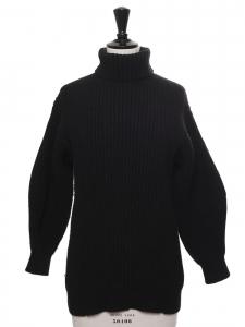 Pull ISA col roulé en laine côtelé noir Prix boutique $450 Taille XS