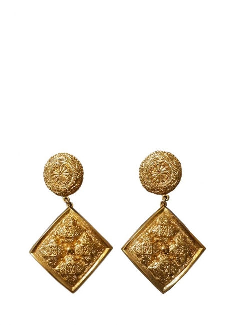 Gold plated pendant clip earrings in byzantine style