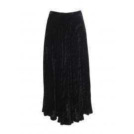 High waist black crushed velvet maxi skirt Retail price €1100 Size 36