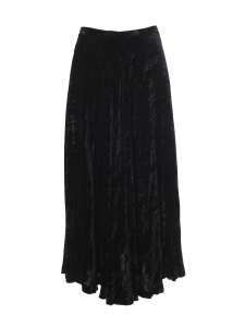 High waist black crushed velvet maxi skirt Retail price €1100 Size 36