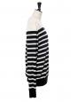 Black and white stripes fine cashmere crew neck sweater Retail price €730 Size L