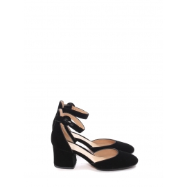 CAMILLE black velvet pumps with ankle strap and 6cm heel Retail price €685 Size 36.5