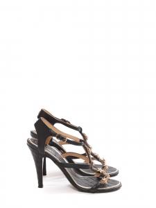 Sandales à talon en cuir noir et étoiles dorées Prix boutique 1500€ Taille 37,5