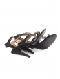 Black leather heel sandals embellished with gold stars Retail price €1500 Size 37