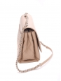 Classic flap shoulder bag in beige pink grained and quilted leather with silver chain NEW