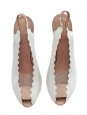 Escarpins scalloped en cuir blanc et rose pâle Px boutique 500€ T 37,5