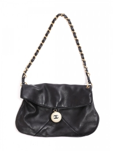Ivory white cue ball black lambskin leather fold-over bag with gold chain