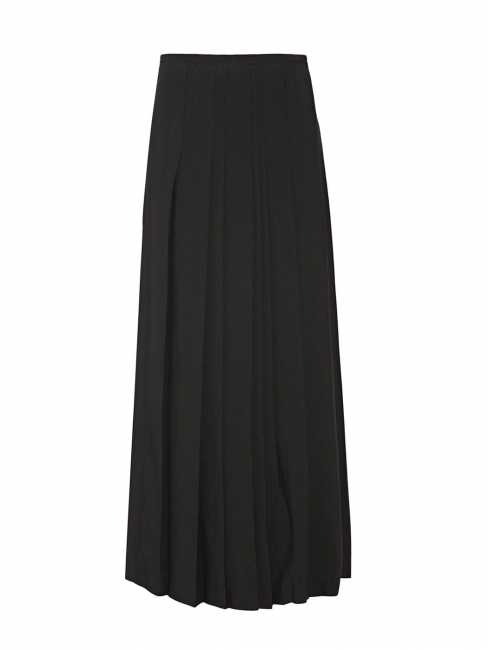 Black pleated crepe high waist wrap maxi skirt with high slit Retail price £1600 Size 40