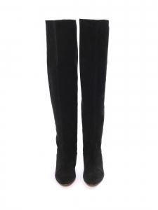 Flat black suede leather over the knee boots Retail price €1040 Size 37