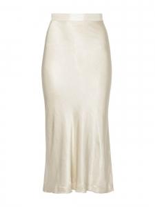 Jupe longue Kimberley en satin blanc ivoire / jaune pâle Prix boutique $495 Taille XL