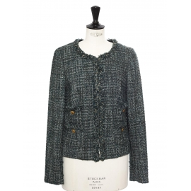Light and dark green tweed jacket with gold buttons Retail price €350 Size 38