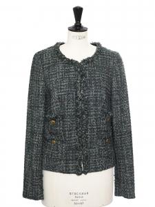 Veste col rond en tweed vert foncé et clair boutons dorés Prix boutique 350€ Taille 38