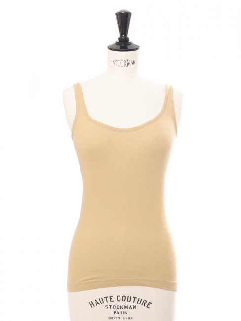 Pale yellow beige ribbed cotton tank top Retail price €70 Size XS